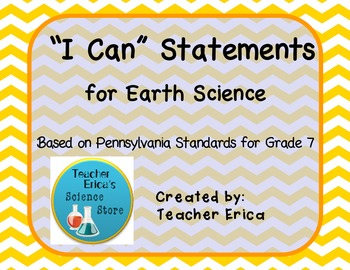 I Can Statements Gr 7 Earth Science