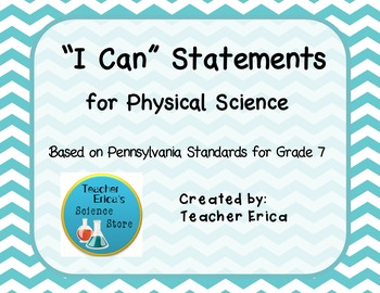I Can Statements Gr 7 Physical Science