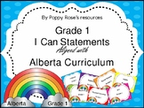 I Can Statements Grade 1 Alberta Curriculum plus Teacher C