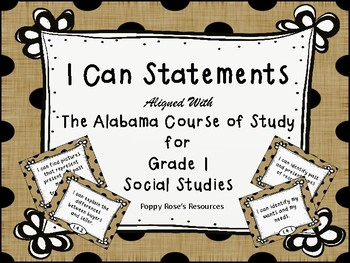 I Can Statements Grade 1 Social Studies - Alabama