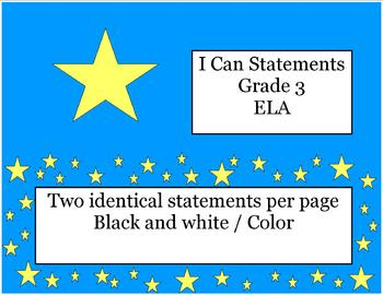 I Can Statements -  Grade 3 Common Core ELA