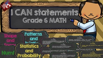 I Can Statements Grade 6 Math (Chalkboard Theme)