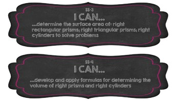 I Can Statements Grade 8 Math (Chalkboard Theme)