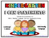 I Can Statements KINDERGARTEN Common Core