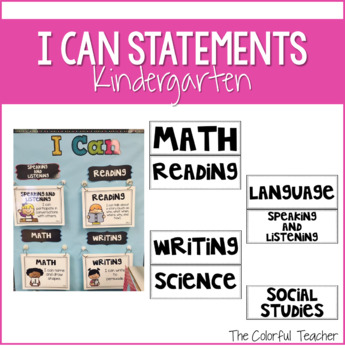 I Can Statements for Kindergarten: Editable