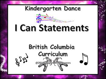 I Can Statements Kindergarten Dance British Columbia Curriculum