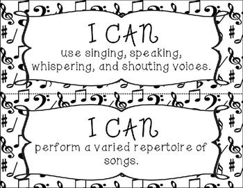 I Can Statements - Kindergarten - Music Note
