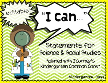 I Can Statements Kindergarten Science & Social Studies