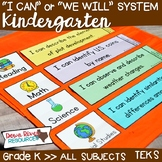 I Can Statements Kindergarten TEKS System {All Kindergarten Standards}