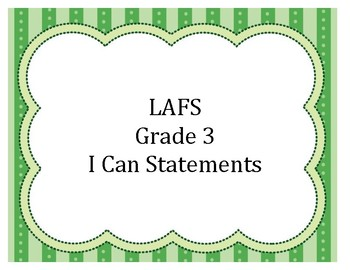 I Can Statements LAFS Grade 3