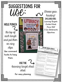I Can Statements -- Learning Targets for Second Grade ELA & MATH *BUNDLE*