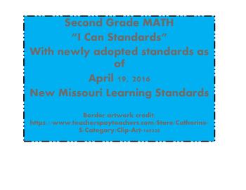 I Can Statements Math 2nd grade NEW Missouri Standards