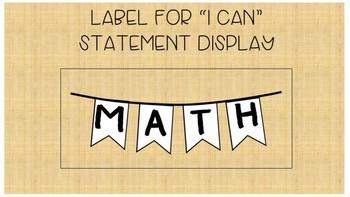 I Can Statements Math-Rustic