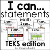 I Can Statements Math TEKS edition Kindergarten