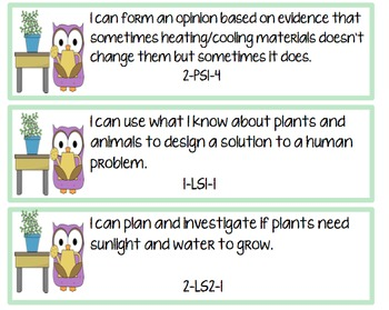I Can Statements NGSS 2nd Grade