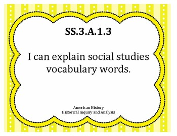 I Can Statements NGSS Social Studies Grade 3