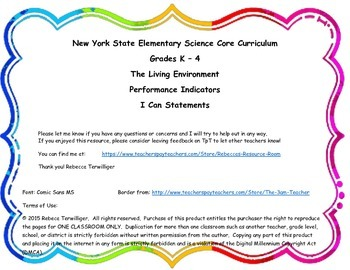 I Can Statements-NY K - 4 Science-Living Environment Performance Indicator 1