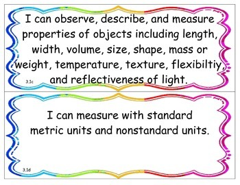I Can Statements - NY K - 4 Science - Physical Setting - Performance Indicator 3