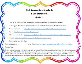 I Can Statements New York Common Core ELA Grade 1