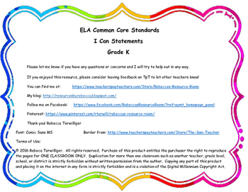 I Can Statements New York Common Core ELA Grade K