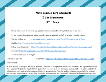 I Can Statements New York Common Core Math Grade 3