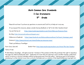I Can Statements New York Common Core Math Grade 5