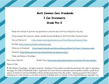 I Can Statements New York Common Core Math Grade Pre-K