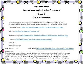 I Can Statements New York Common Core Social Studies Grade 3