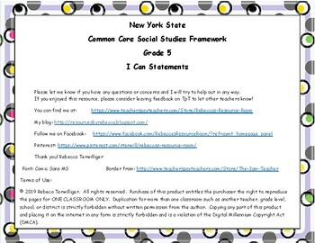 I Can Statements New York Common Core Social Studies - Grade 5