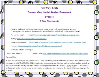 I Can Statements New York Common Core Social Studies Grade K