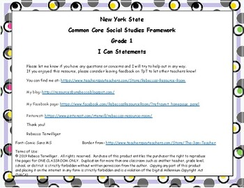 I Can Statements New York Common Core Social Studies Grade 1