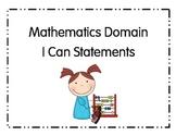 I Can Statements Pre-School Math Ohio