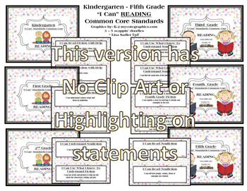 I Can Statements READING ONLY K - 5 - NO CLIP ART OR HIGHLIGHTING