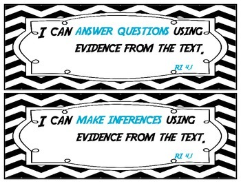 I Can Statements - Reading Standards for Informational Text Grade 4