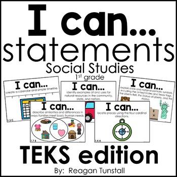 I Can Statements Science & Social Studies TEKS Bundle First Grade