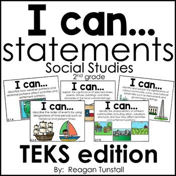 I Can Statements Science & Social Studies TEKS Bundle Second Grade