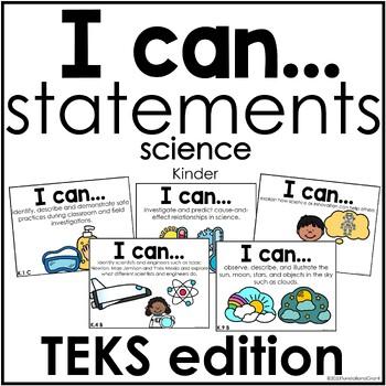 I Can Statements Science TEKS edition Kindergarten