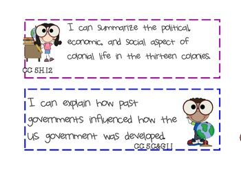 I Can Statements-Science and Social Studies-5thGrade