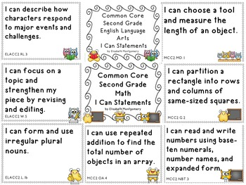 I Can Statements Second Grade Common Core Lang Arts and Ma