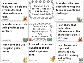 I Can Statements Second Grade Common Core Language Arts Do