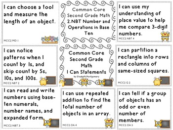 I Can Statements Second Grade Common Core Math Doodle Border