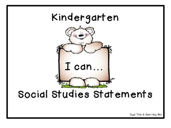 I Can Statements Social Studies Kindergarten