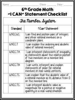 I Can Statements Student Checklist- 6th Grade Math Common Core!
