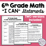 I Can Statements Student Checklist 6th Grade Math Common Core