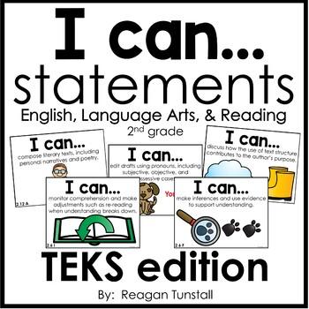 I Can Statements Math & ELAR TEKS Bundle Second Grade