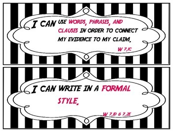 I Can Statements - Writing Standards for Grade 7