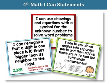 I Can Statements 4th Grade Math