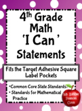 I Can Math Statements 4th Grade CCSS fits Target Square Adhesive Pocket Labels