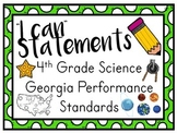 I Can Statements for 4th Grade Science Georgia Performance Standards