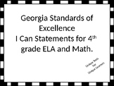 I Can Statements for 4th grade ELA and Math for Georgia St
